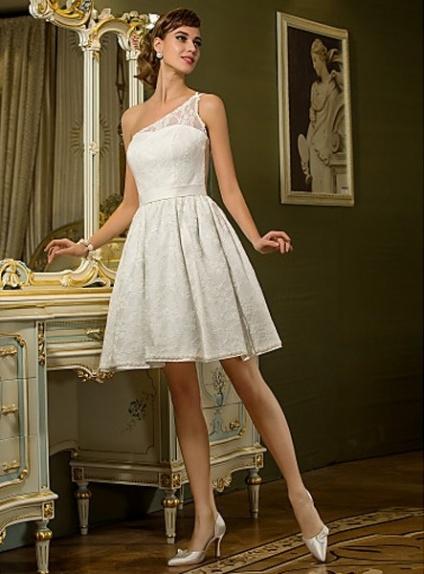 A Line Short Satin Lace One Shoulder Wedding Dress