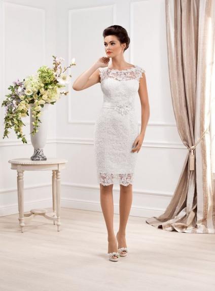 Short Sheath Knee Length Lace Low Round Scooped Neck Wedding Dress