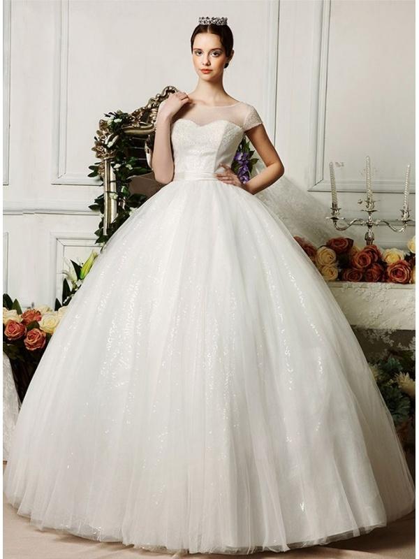 Populaire da Sposa vaporoso con girocollo e maniche in tulle per matrimonio  WY46