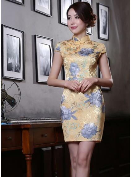 Super da Cerimonia Giapponese Cinese Orientale Tradizionale giallo e a fiori FI87