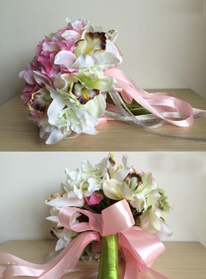 spesso Sposa finto con fiori rosa e orchidee IW72