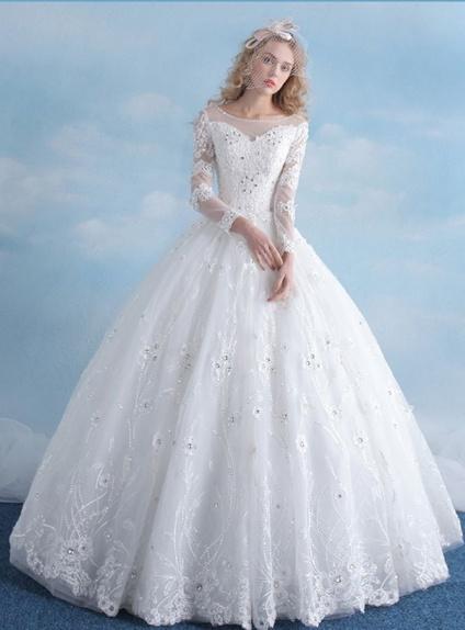 Souvent da Sposa da Principessa manica lunga con Pizzo PX03